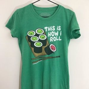 Tops - This Is How I Roll sushi graphic tee, green